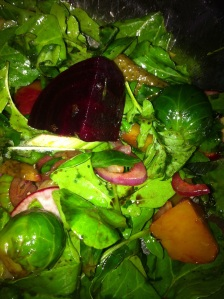 Edward's Beet Salad sans goat cheese, walnuts and grilled bread.
