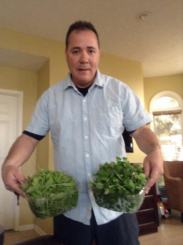 Some husbands bring flowers. Mine brings organic sorrel and watercress.